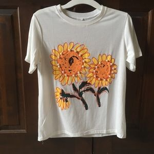 Summer Sunflower Pearl Embellished Tee 🌻